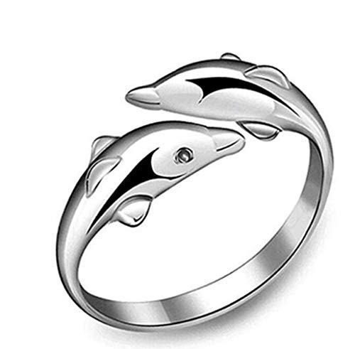 fast-shop Fashion Women Dolphin Ring Elegant Ring Jewelry Wedding Party Birthday Gift, Multicolour