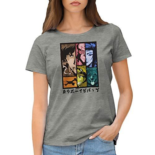 GR8Shop Cowboy Bebop Color Anime Characters TV Camiseta de Mujer Gris Size XXL
