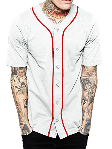 Hat and Beyond Mens Baseball Button Down Jersey (01up01_White/Red,Large)