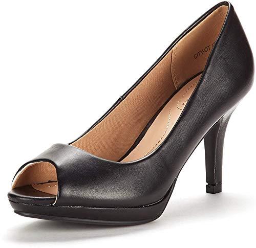 DREAM PAIRS Women's City_OT Black PU Fashion Stilettos Peep Toe Pumps Heels Shoes 39.5 EU / 8.5 US