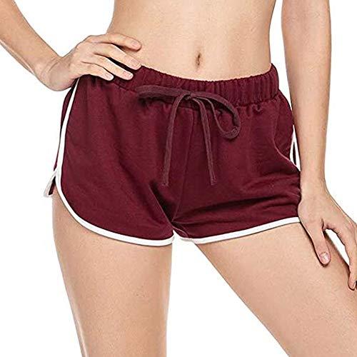 LINGXI Pantalones Cortos de Deporte para Mujer, Transpirables Ligeros, Correr Jogging Ejercicio Gimnasio al Aire LibreRed Wine-XXL