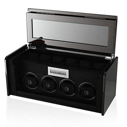 4+6 Watch Winder Box for Self-Winding up to 4 Automatic Watches with LED Case Backlight, LCD Touchscreen Display and 6 Watches Storage Compartment for All Watch Brands and All Watch Sizes (Carbon)