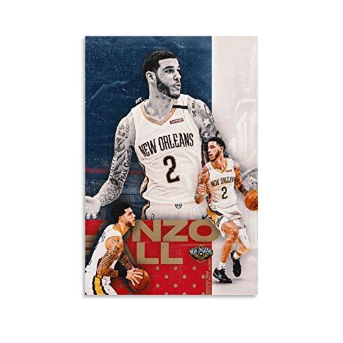WSXDD Lonzo - Póster de baloncesto para decoración de pared, diseño de balón de baloncesto para oficinas, salas de estar, hogares, regalo para niños y hombres, 40 x 60 cm