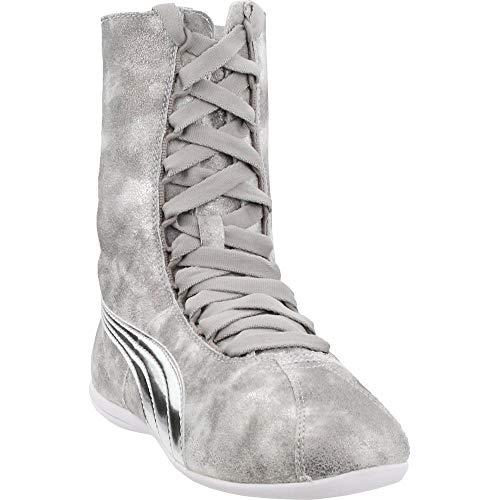 PUMA Women's Eskiva Hi Metallic Silver High-Top Fashion Sneaker - 8M
