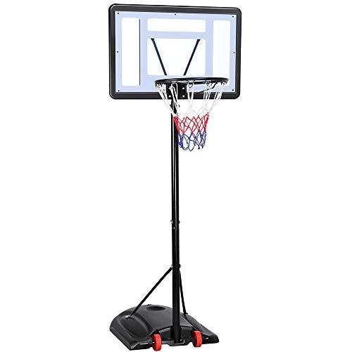 Yaheetech Canasta de Baloncesto Tablero Portátil Cesta de Baloncesto Móvil Altura Ajustable 219-279 cm con Soporte