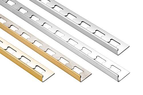 HEXIM 10mm L-Profil Edelstahlschienen Sparpakete - Fliesenschienen in silber & gold, gebürstet & glänzend - 5 Stück = 10 m á 2,00 m (silber gebürstet)