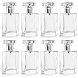 Belle Vous Frasco Vacío Atomizador Perfume Rellenable 30 ml Frascos para Perfume Cristal Transparente (Pack de 8) Bote Spray Atomizador Plateado - Viajes, Aceites Esenciales, Loción After-Shave