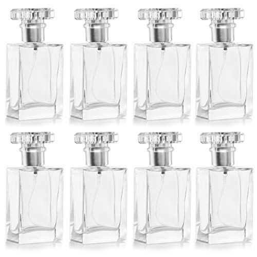 Belle Vous 30ml/1oz Empty Refillable Perfume Clear Glass Atomiser Spray Bottles (8 Pack) - Transparent Square Bottles with Silver Mist Pump - Portable for Travel, Essential Oils, Aftershave & Cologne