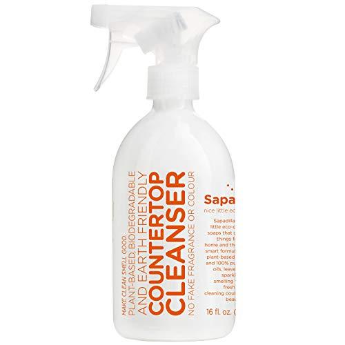 Sapadilla Grapefruit + Bergamot Biodegradeable Countertop Cleanser Spray, 16 Ounce, Clear