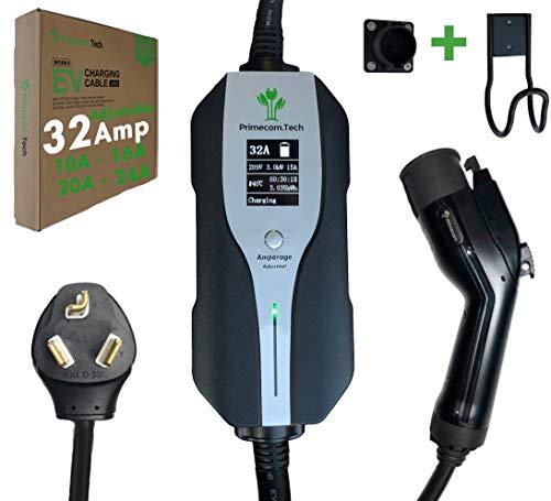 PRIMECOM.TECH Level 2 Electric Vehicle (EV) Charger Amperage Adjustable (10Amp - 16Amp - 20Amp - 24Amp - 32Amp) 30Ft Cable EVSE Plug-in Hybrid (30 FT, 10-30P)