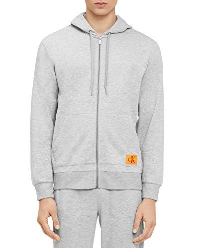 Calvin Klein Men's Monogram Lounge Full Zip Hoodie, Grey Heather, L