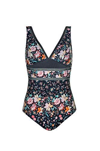 Olympia Damen Badeanzug Flower Glam mit Softschalen, Größe:44B, Farbe:Mehrfarbig (schwarz 5)