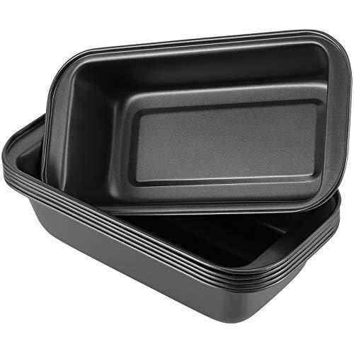 ZEONHAK 6 Pack 10 x 5 Inches Food Grade Nonstick Loaf Pan, Carbon Steel Baking Bread Pan, Nonstick Baking Loaf Pan for Baking Bread and Holding Food, Black