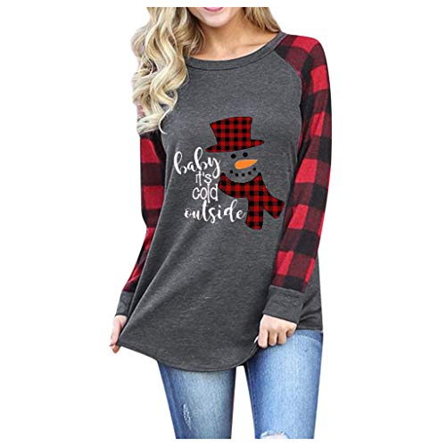 Robemon Damen Weihnachtspullover 2019 T-Shirt Bedruckt Weihnachtsbuchstaben Frühling Herbst Winter Top Langarm Raglan Casual High Bluse T-Shirt Sweatshirt Gr. XXX-Large, C-Rouge