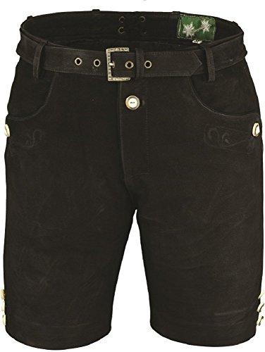 Lederhose mit Gürtel, echt Leder Nubuk Trachten Lederhose Herren kurz, Damen Trachtenlederhose Schwarz mit Gürtel (52, Schwarz)