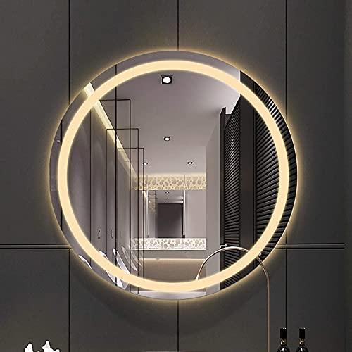 QTWW Espejo de baño LED Iluminado, Impermeable, Redondo, antiniebla, tocador Inteligente, Espejo a Prueba de explosiones montado en la Pared para Maquillaje, Afeitado cosmético