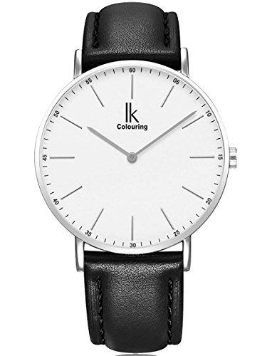 Alienwork IK Damen Herren Armbanduhr Quarz Silber mit Lederarmband schwarz Ultra-flach Slim-Uhr