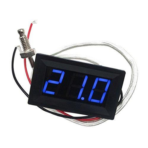 LED Autothermometer Innen/Außen DC 12V Auto KFZ Thermometer Digital Thermometer Panel-Meter -30 bis +800 ℃ - Blau