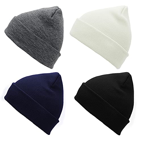 Zando Beanie for Men Women Cuffed Cap Soft Slouchy Beanie Winter Knit Hats Fisherman Beanie Skull Cap Unisex Daliy Beanie White & Black & Navy & Dark Grey One Size