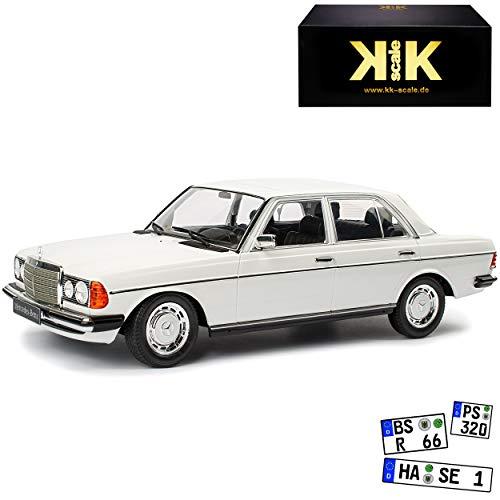 KK-Scale Mercedes-Benz W123 230E E-Klasse Limousine Weiss 1975-1986 1/18 Modell Auto mit individiuellem Wunschkennzeichen