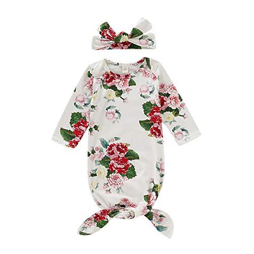 Baby Meisjes Nachtjassen, 2 Stks/Set Bloemen Pasgeboren Lange Mouw Slaapzak met Hoofdband/Hoed, Baby Meisje Slaapmode Nachtjapon Thuis Outfits Set 70 Kleur: wit