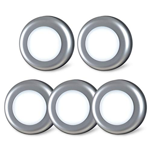 Tap Light, Push Lights, STAR-SPANGLED Stick on Lights Battery Powered Operated, Night Touch Light, Mini LED Puck Lights, DIY Switch Button for Closet Under Cabinets Kitchen (Silver, Cool White, 5Pack)
