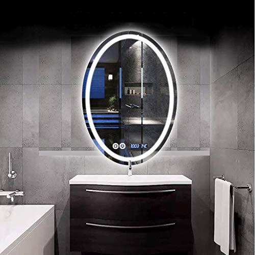 XQAQX Espejo de Baño Espejo Maquillaje Espejo de tocador Pantalla de luz LED antiniebla iluminada con Control de Toque de baño y luz antiniebla del Tiempo (Color : White Light, Size : 60 * 80cm)