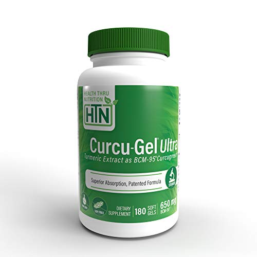 Curcu-Gel Ultra 650mg BCM-95 (CURCUGREEN) (Soy-Free) (Non-GMO) Enhanced Absorption Bio-Curcumin Complex (500mg Total Curcuminoids with Essential Oils of Turmeric Rhizome) 180 Softgels
