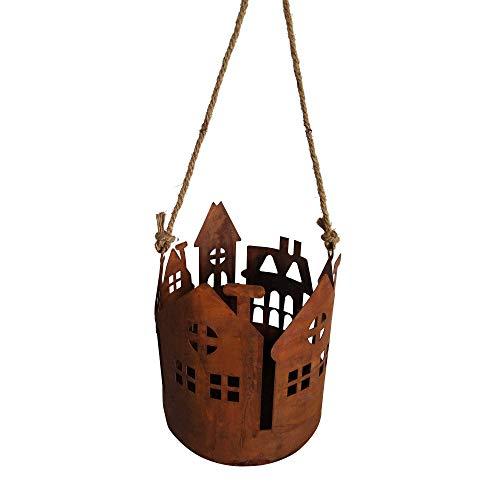 RM E-Commerce Deko Rost Laterne zum Aufhängen mit Jutekordel, Edelrost Windlicht für Garten, Terrasse, Balkon und Zuhause (klein)