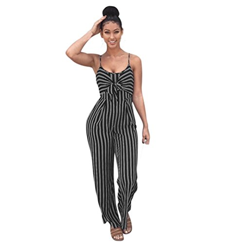 WuyiMC Jumpsuit, Womens Clubwear Strappy Striped Playsuit Bandage Bodysuit Party Jumpsuit Bow tie Sleeveless Sling (Black, L)