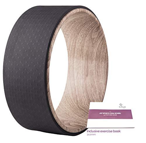 JAP Sports - Yoga Rad mit Yoga-Übungsbuch - Sport Pilates Fitness Balance Wheel - Naturkautschuk ABS - 33 x 13 cm - Holz