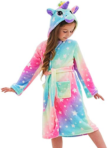 Msrlassn Kinder Weiches Einhorn Kapuzen Bademantel Nachtwäsche - Einhorn Geschenke für Mädchen (Pink Galaxy Star, 6-7 Jahre)