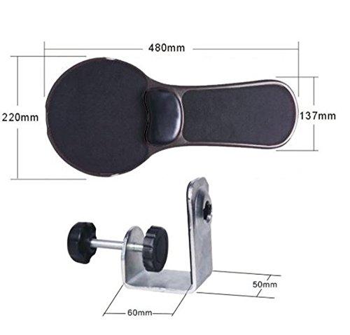 XICHEN® Soporte de brazo y alfombrilla de ratón ergonómica de doble función, ajustable para reposar la muñeca y el brazo en el ordenador, enganchable a escritorio y silla, color negro