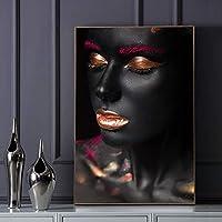 キャンバス絵画黄金の植物の葉のポスターとプリント黒と金の壁アートプリント北欧の壁の写真リビングルームの装飾-20x30cmフレームなし