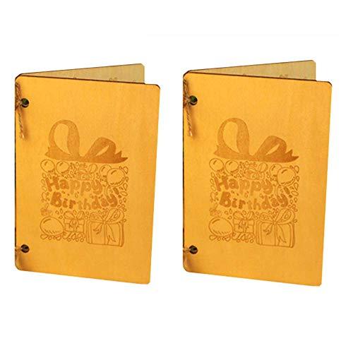 2 tarjetas de felicitación de madera personalizadas de madera para regalos de San Valentín, para novio, novia, esposa, madre, cumpleaños, bodas