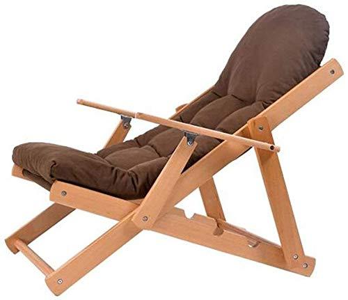 Sieste - Silla reclinable plegable de madera maciza con tejido reclinable simple, silla para balcón, silla de paseo (color: A)