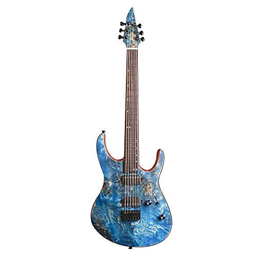 EART EXPLORER-1 Electric Guitar 6 String Right Solid-Body Electric Guitar, Closed Pickup, Heavy Metal Music, Pop, Rock,Dendritic Veneer, Black, Natural, Blue, Purple