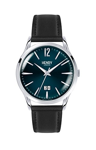 Henry London Unisex Analog Quarz Uhr mit Leder Armband HL41-JS-0035