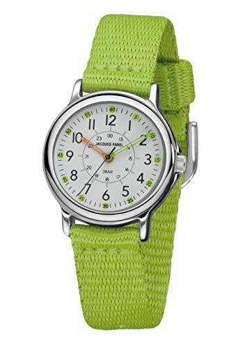 JACQUES FAREL Reloj de pulsera analógico para niñas y niños, correa de tela extra suave, color verde claro, metal, cuarzo, KCF 056