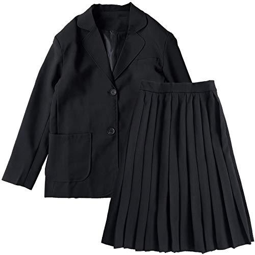 Conjunto de Blazer Elegante Chándal Mujer Vintage Traje de Invierno Manga Larga Negro Blazer + Faldas Largas Plisadas