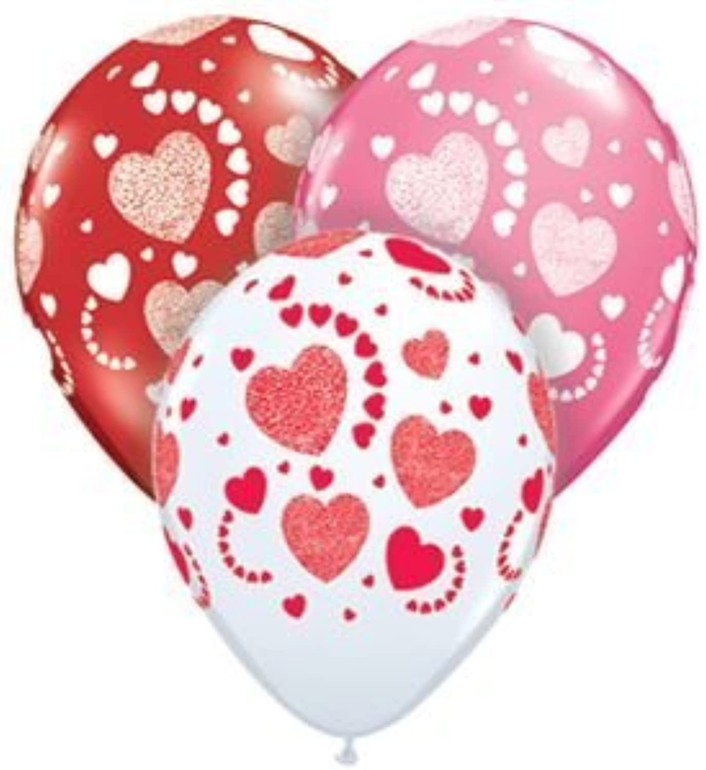 Single Source Party Supplies - 11  Etched Hearts Assortment Latex Balloons Bag of 10