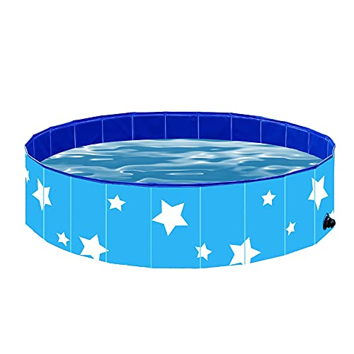 SUNONE Dog Paddling Pool, Portable Foldable Anti-slip and Wear-Resistant Paddling Pools for Kids Dogs Cats Bathing Tub Bathtub Wash PVC Pet Outdoor Playing Pool (31.5in* 12in),Blue