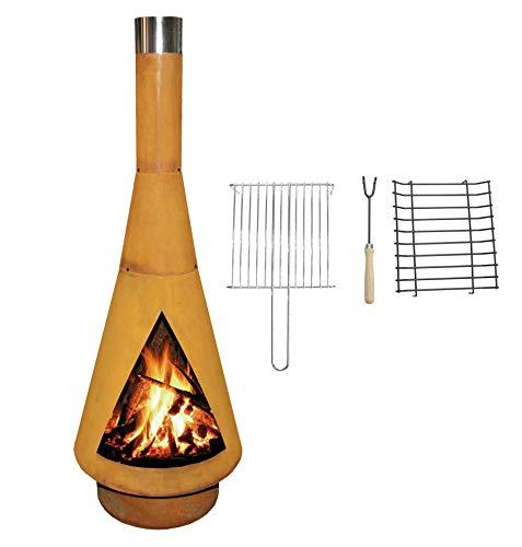 YERD Corten Terrassen-Ofen/Grill-Kamin Denver BBQ: Echter Corten-Stahl Gartenkamin (Edelrost), inkl. Grill-Rost (XL 160cm Corten)