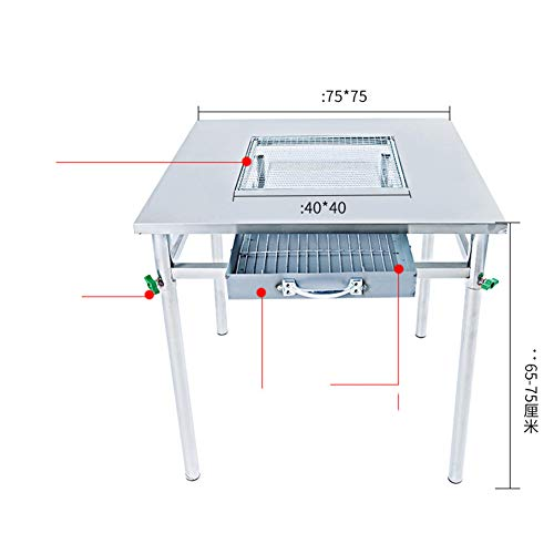FULANTE Barbecue, home buffet barbecue tafel, multifunctionele outdoor houtskool barbecue rack tafel commerciële roestvrij staal grill