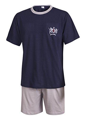 Moonline nightwear Herren Pyjama Schlafanzug kurz Herren Pyjama kurz Herren Shorty Schlafanzug aus 100{d6bc25b79e78993bd813d5f1f10a6633e00aeef7a1cb2e48deaa66bab7c2cf1d} Baumwolle (XL/54-56, Oberteil Marine/Hose Uni)