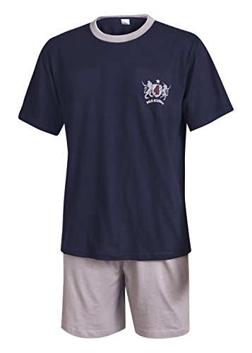 Herren Pyjama Schlafanzug kurz Herren Pyjama kurz Herren Shorty Schlafanzug aus 100{d636973b01adb3c1337b7d77db8d222893da613de5b81bf72879bf683e6ac0a9} Baumwolle (XL/54-56, Oberteil Marine/Hose Uni)