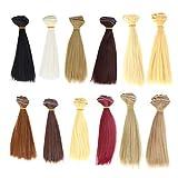 HEALLILY 12 pz capelli lisci per bambole, resistenti al calore, extension per capelli fai da te per bambole, accessori per la creazione di bambole, 100 x 15 cm