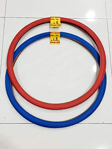 MZ PARTS MIAMI TIRE Bicycle ONE RED and ONE Blue Street Bicycle TIRE (28X1 1/2)