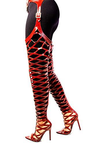 Cape Robbin Train Oberschenkelhohe Chap Stiefel, Stiletto Heel, modisches Kleid für Damen, Rot (wein), 36.5 EU