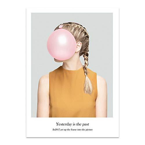 RKSZD schilderij voor meisjes, ballon, roze, meisjes, hart, Engels, alfabet, teken, doek, abstract, bedrukt, foto, Nordic huis, decoratie
